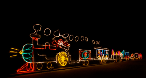 Santa train light display light up at night