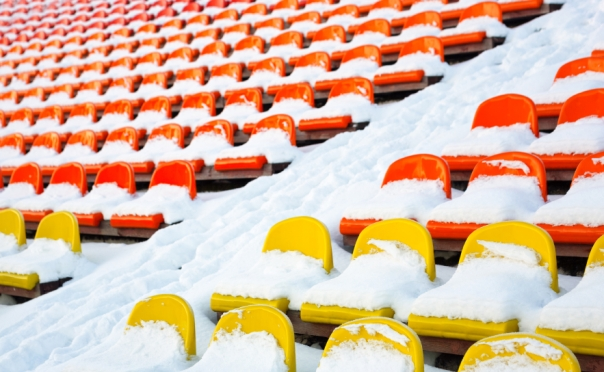 Stadiums winter covered with snow